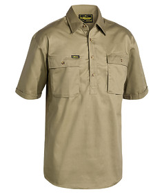 Closed Front Mens Cotton Drill Shirt - Short Sleeve