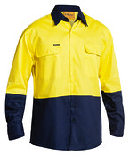 2 Tone Hi Vis Drill Shirt - Long Sleeve