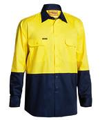 2 Tone Hi Vis Cool Lightweight Mesh Ventilated Drill Shirt - Long Sleeve