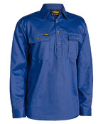 Closed Front Cotton Mens Drill Shirt - Long Sleeve